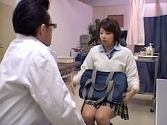 Sweet Jap babe gets her twat fingered during medical exam