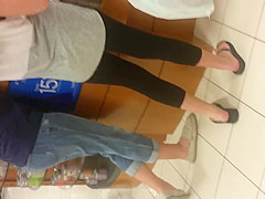 SUPER HOT TEEN AND MILF SPANDEX WITH RED TOES IN LINE