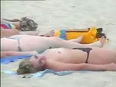 Sexy girls topless at beach - video