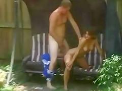 Neighbors fucking in their garden