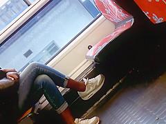 Candid cute black girl in nike air max