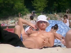Nudist Beach hottie from ukraine -- Pussy close up voyeur