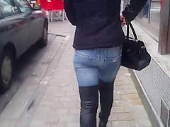 voyeur julieskyhigh public street thigh high boots jeans