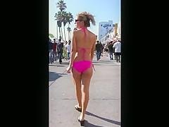 Candid beach butt