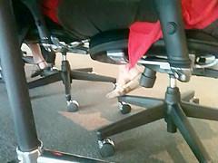 Shoe teasing below the desks...