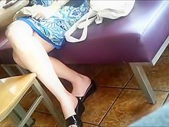 Candid Feet: Working MILF At Restaurant