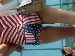 Ass Cheek - Girl in hot pants