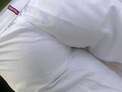 sexy brunette white pants...best ass