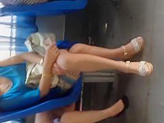 A fucking hot bitch wearing hot pantyhose on bus