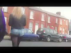 Voyeur teen in hot denim hotpants