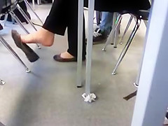 Check out her feet in class.