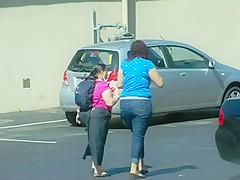 Young Chunky Girl Walking