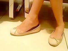 Candid Ten Shoeplay Feet Legs in Flats