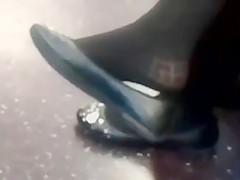 Candid Shoeplay Heelpopping Feet in Tights on Train