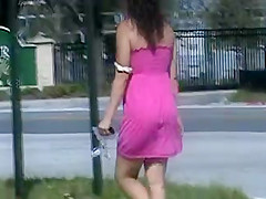 Candid Ass in pink dress