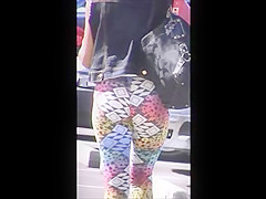 tight teen jiggly ass spy in spandex, slow motion