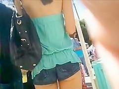 Asian girl in cheeky shorts