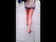 Girl wearing tiny shorts