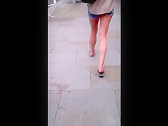 Girl wearing tiny shorts