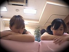 Two cute Asians screwed hard in voyeur massage video