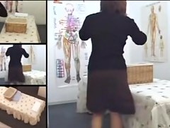 Athletic Japanese caught on a massage room hidden cam