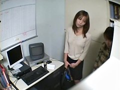 Two Jap babes suck dick in hidden cam Japanese sex video