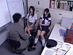 Horny police officer fucked two naughty Japanese bimbos