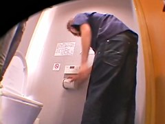Hot Jap takes a piss and gets screwed in the toilet