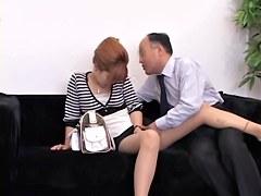 Blonde Jap gets a creampie in voyeur hardcore sex video