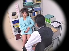 Titless hairy Jap nailed in spy cam office sex video