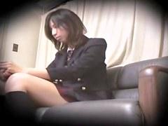 Leggy Jap teen nailed viciously in spy cam sex movie