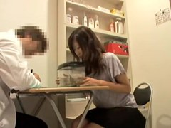 Beautiful Jap creamed during a medical examination