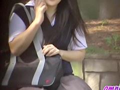 Several Jap girls experience sharking on a public street