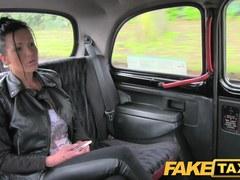 FakeTaxi: Breasty brunette hair in anal creampie