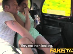 FakeTaxi: Joy time pair in backseat taxi trio