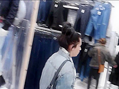 Upskirt black tights & heels out shopping (with face)