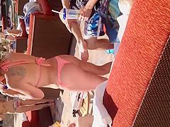 Nice Latin ass in thong bikini