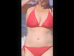 candid beach milf spy jiggly tits 20 see thru top