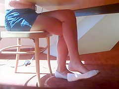 Candid Beautiful Blonde Shoeplay Dangling Feet and Legs Pt 2