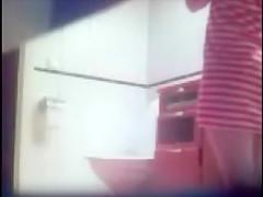 Blonde teen whore bathroom toilet shower hidden spy voyer