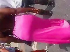 Black Milf In Pink Dress Showing Thong