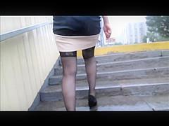Girl flashing black stockings tops