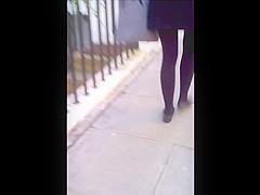 Candid teen miniskirt pantyhose