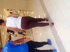 Nice fat black ass in see thru brown leggings