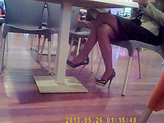 Beautiful legs at restaurant