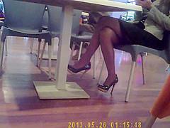 Beautiful legs at restaurant
