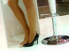 Candid Sexy Blonde Hostess Shoeplay Feet Legs Nylons