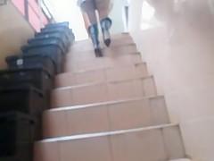 Flashing stockings tops going upstair