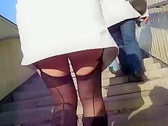 Girl in Seamed Stockings Upskirt