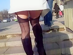Girl in Seamed Stockings Upskirt